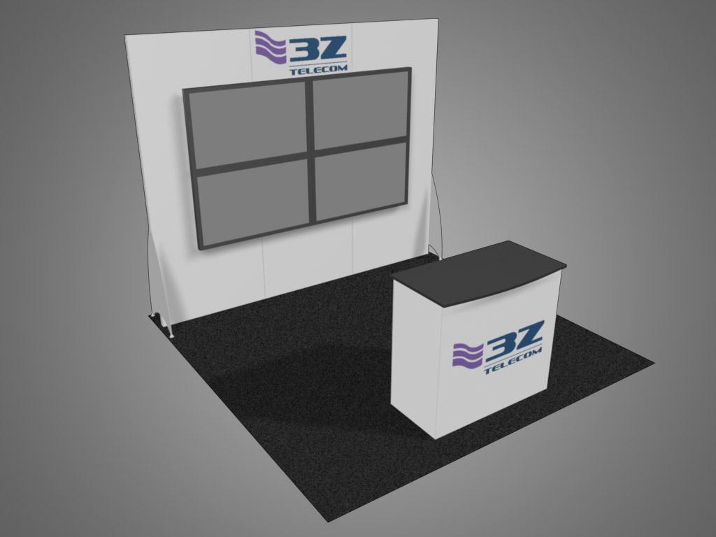 10x10 trade show exhibit with video wall